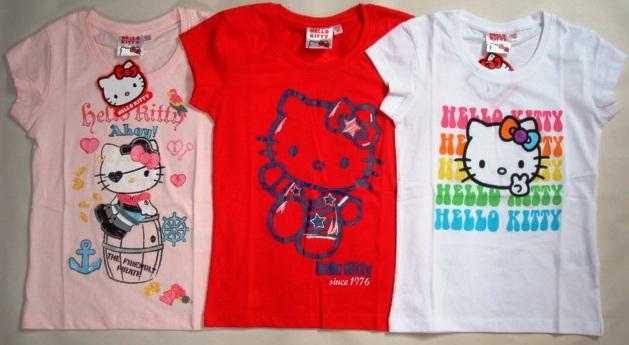 Krásné originální dětské tričko Hello Kitty, růžové, červené a bílé, pro holky