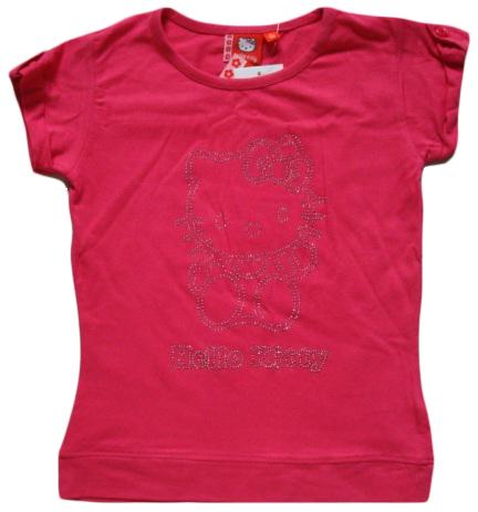 Krásné originální dětské tričko Hello Kitty, tmavorůžové