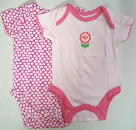 Dětské body s krátkým rukávem, vel.0-3,3-6 měsíce / Set 2 kusy