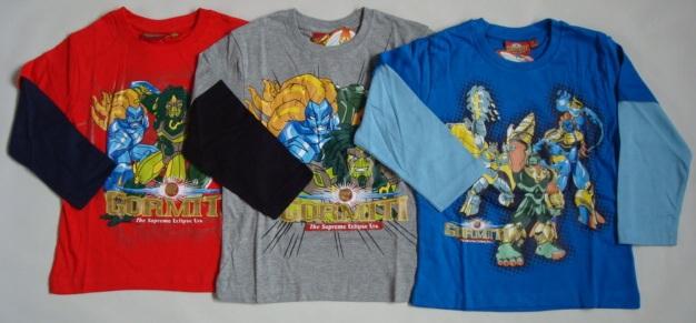 Tričko Gormiti, s dlouhým rukávem, šedé, červené a modré