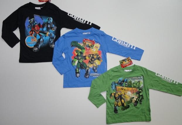 Tričko Gormiti, dlouhý rukáv, tmavomodré, modré, zelené