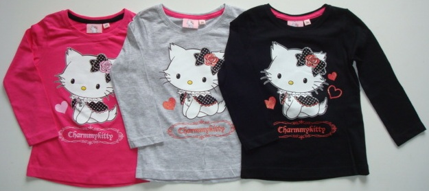 Krásné originální dětské tričko Hello Kitty pro holky - dlouhý rukáv