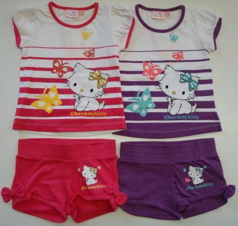 Krásný originální dětský set Hello Kitty pro holky- tričko, kraťasy