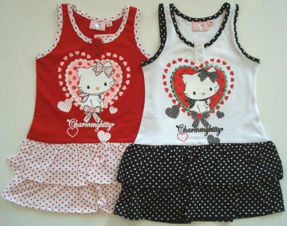Krásné originální dětské šaty Hello Kitty pro holky, 2 barvy