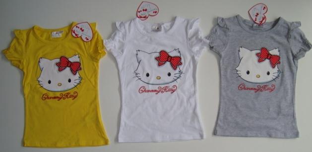 Tričko Hello Kitty, žluté, bílé, šedé