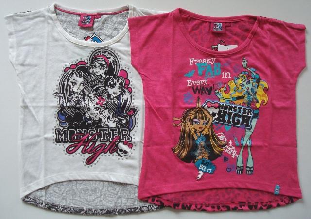 Tričko Monster High, bílé a růžové
