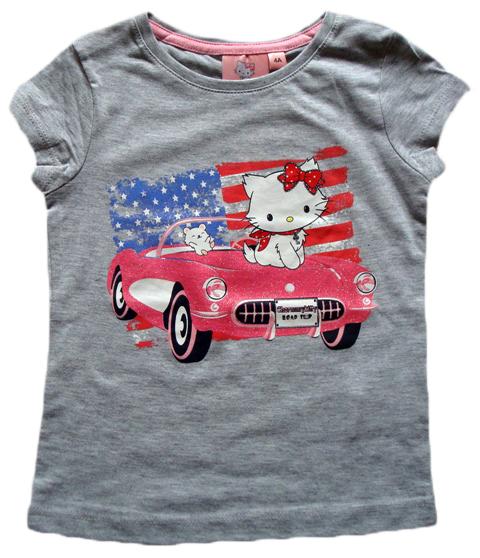 Krásné originální dětské tričko Hello Kitty pro holky, šedé