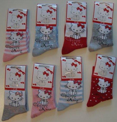 Krásné originální dětské ponožky Hello Kitty pro holky, mix barev