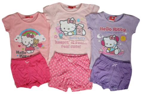 Set Hello Kitty, tričko a šortky - růžový, světle růžový, fialkový