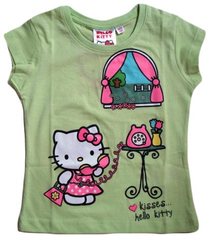 Krásné originální dětské tričko Hello Kitty, zelené, pro holky
