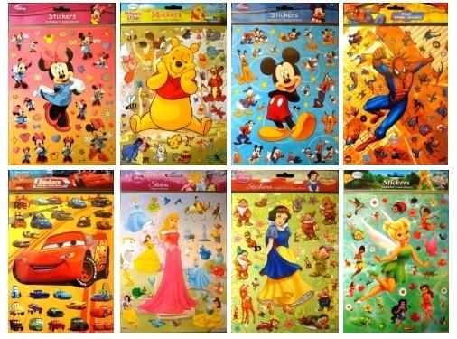 Samolepky Disney - A4, 8 různých druhů