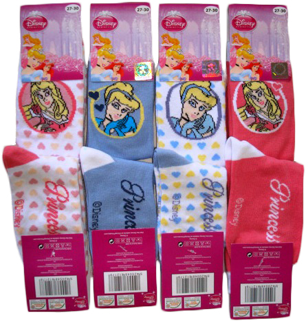 Ponožky Disney Princezny, mix 4 barev