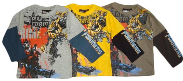 Tričko Transformers, dlouhý rukáv, šedé, žluté a khaki