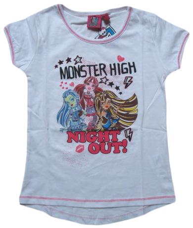 Krásné originální dětské tričko Monster High pro holky, bílé, 152/158
