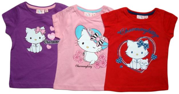 Tričko Hello Kitty, fialové, růžové a červené