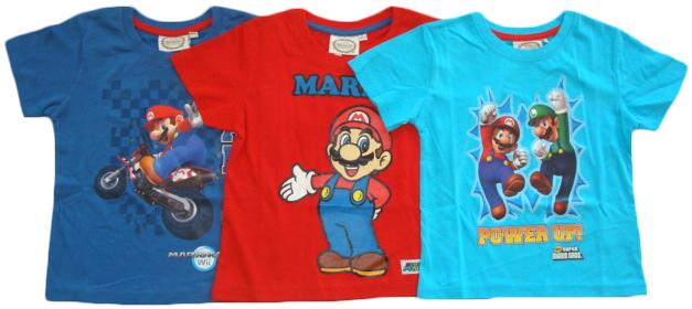 Tričko Super Mario, tmavomodré, červené a tyrkysové