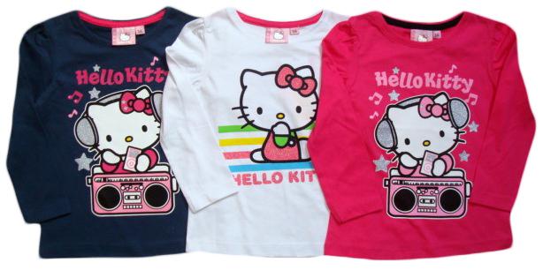 Tričko Hello Kitty, tmavomodré, bílé a růžové