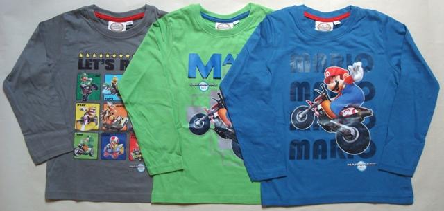 Tričko Super Mario, šedé, zelené a modré
