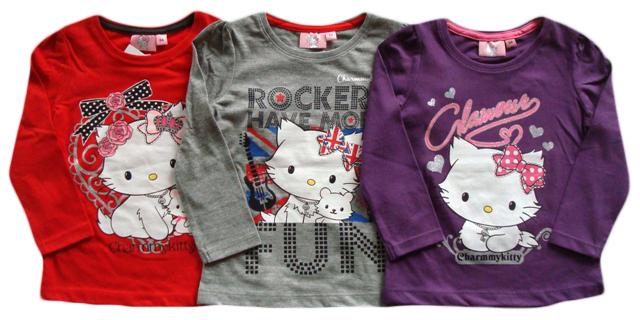 Tričko Hello Kitty, červené, šedé a fialové