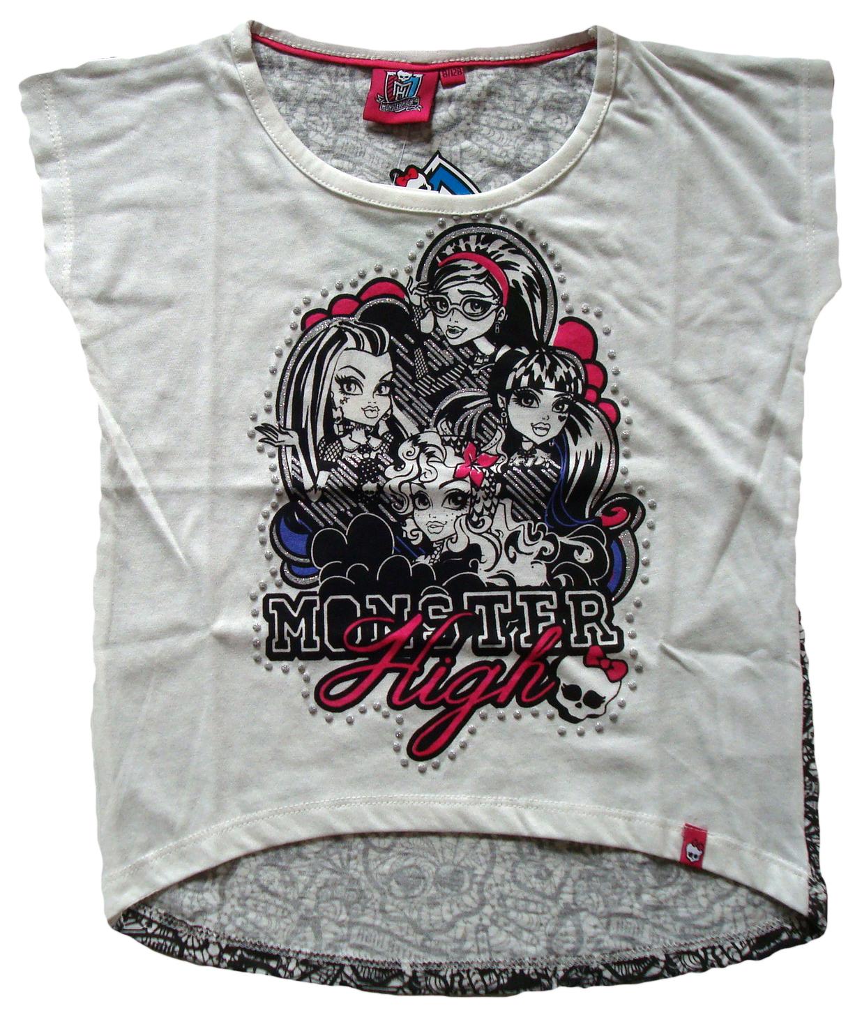 Krásné originální dětské tričko Monster High pro holky, bílé, 128