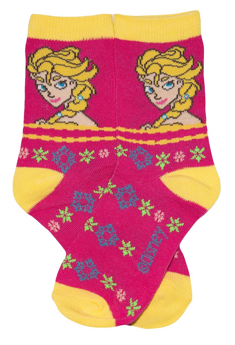Krásné originální dětské ponožky Frozen pro holky, růžovo-žluté