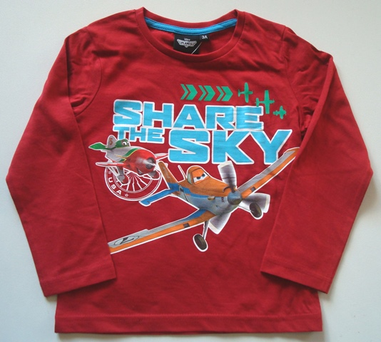 Krásné originální dětské tričko pro kluky Disney Planes, červené