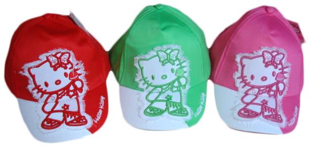 Kšiltovka Hello Kitty, růžová, zelená, červená